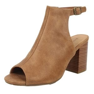 Shoes - Size 5.5 Tan Peep Toe Slingback Block Stacked Heel